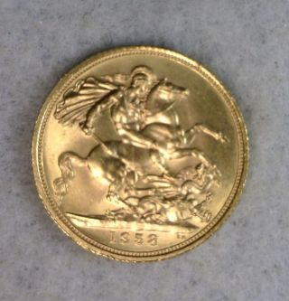 Great Britain 1 Sovereign 1958 Bu Gold Coin (stock 1345) photo