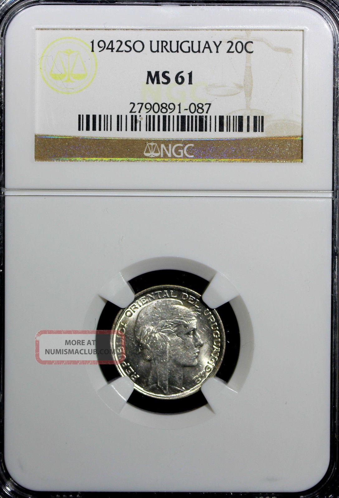 Uruguay Silver 1942 So 20 Centesimos Ngc Ms61 Km 29 N/r South America photo