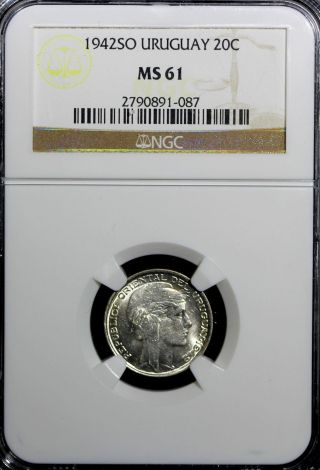Uruguay Silver 1942 So 20 Centesimos Ngc Ms61 Km 29 N/r photo