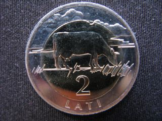 Latvia 2 Lati Bi - Metallic Coin 2009 The Cow Coin,  Lion And Griffin Coat Of Arms photo