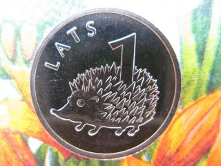Latvia,  Lettland 2012 Hedgehog Animal Coin Wwf Fauna 1 Lats Unc photo