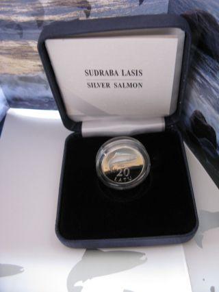 Latvia 20 Lati Collector Coin Silver Salmon 2013 photo