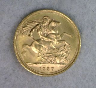 Great Britain 1 Sovereign 1957 Bu Gold Coin (stock 0371) photo