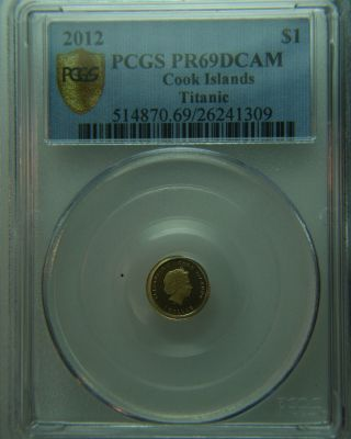 2012 Gold Dollar Cook Islands Titanic Gold Coin - Pcgs Pr69 Dcam photo