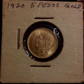 1920 $5 Pesos Mexico Gold Coin,  Scarce Key Date photo