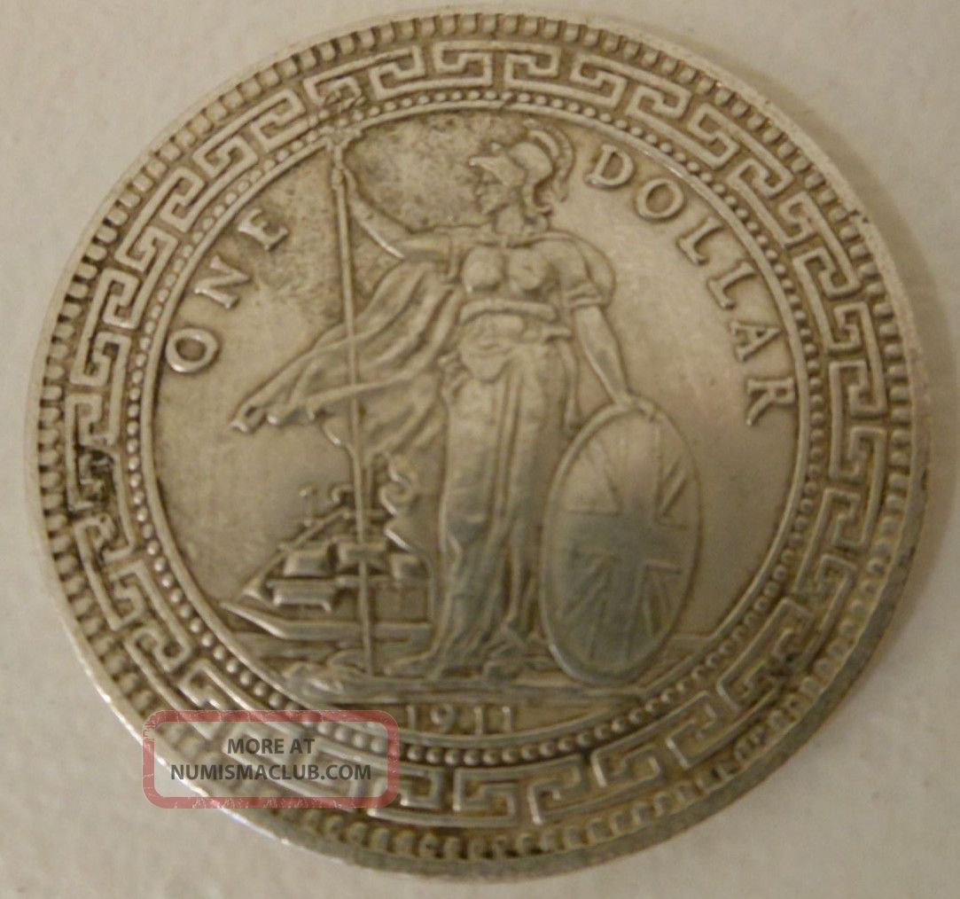 Silver 1911 Chinese One Dollar British Trade Coin