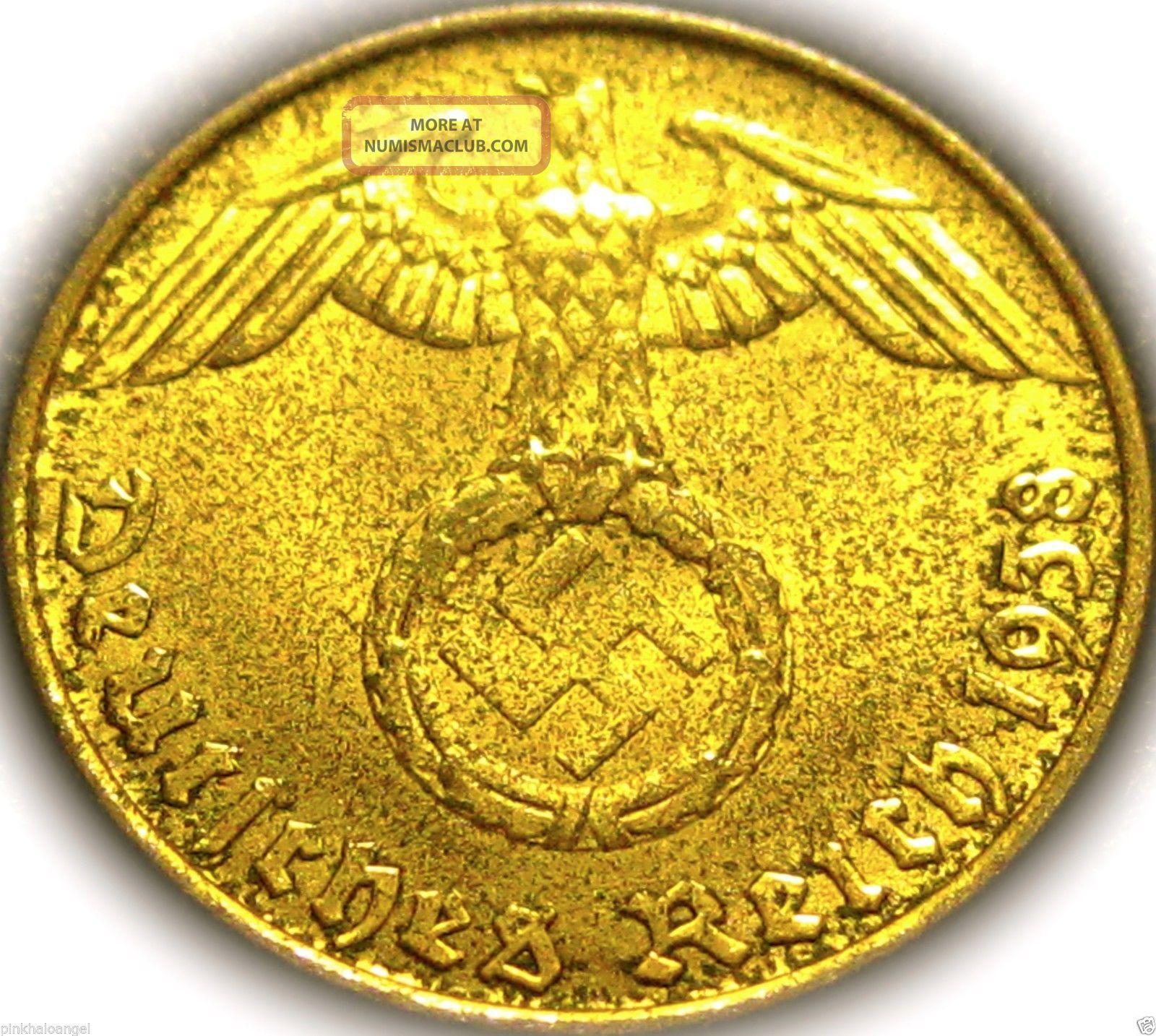 German 3rd Reich 1938E Gold Colored 10 Reichspfennig Coin