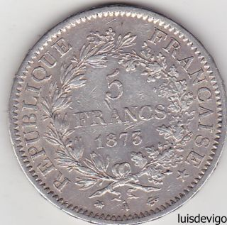 1876 - France - Silver 5 Francs Year 1876 - 25 Grams Silver Weight photo