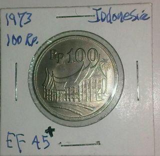 1973 Indonesia 100 Rp.  Km - 36 Cu - Ni Xf,  Indonesian Dwelling Coin Ships $2.  49 Usa photo