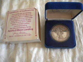 Turks & Caicos 1993 20 Crown Coin Silver Pf Apollo Ii One Oz Pure Silver photo