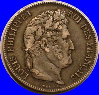 1834 Silver 5 Francs France; Higher Grade photo