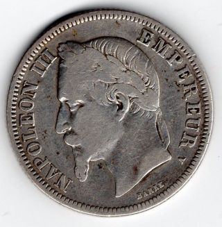 1866a 2 Franc Coin France French Fine 2nd Empire Napoleon Iii Laureate Km 807.  1 photo