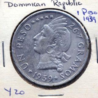 1939 Dominican Republic Peso Km 22 Coin photo