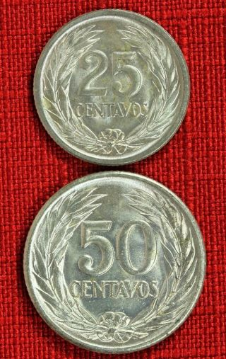 El Salvador X 2: 1953 25 Centavos And 1953 50 Centavos, .  900 Silver - Top Grades photo