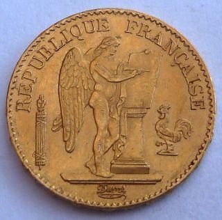 France 20 Gold Francs 1877 6.  45 Gr.  0.  1867 Oz.  0.  900 Gold