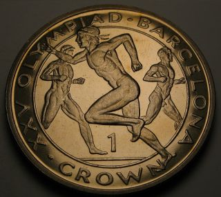 Gibraltar 1 Crown 1991 Proof - Barcelona Olympics - Elizabeth Ii.  1086 photo