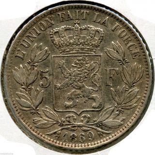 Belgium 1869 Silver Coin - 5 Francs - Leopold Ii - Wfc Ku221 photo