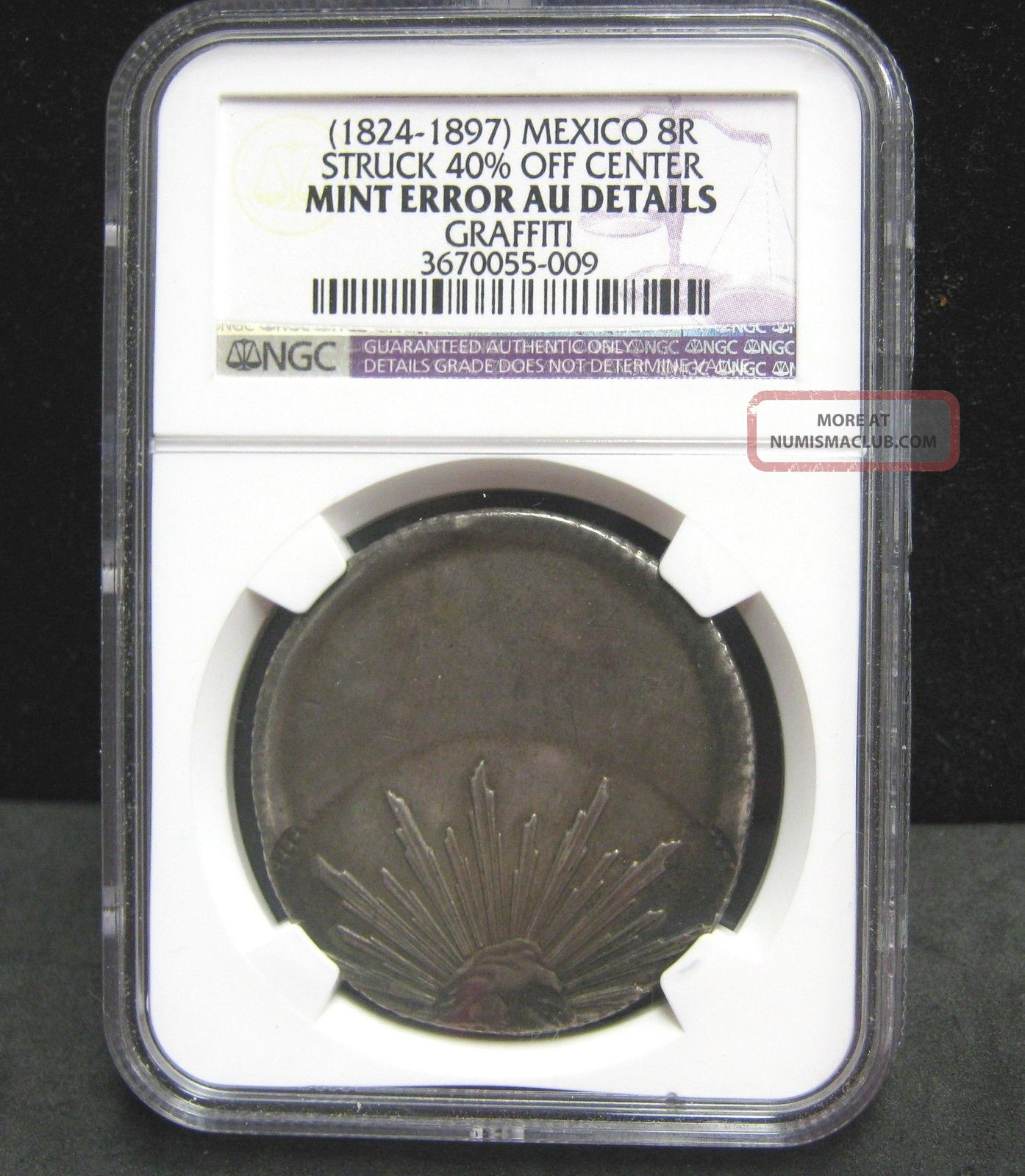 (1824 - 1897) Mexico 8r Struck 40 Off Center - Graffiti - Ngc Au Details - 009 Coins: World photo