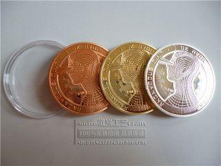 3x Physical Bitcoins 24k Gold /silver Plated 1oz Bitcoin Btc Coin Gift photo