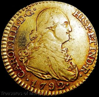 Pure 22k Gold Old Us $2 Gold Coin 1792 Spanish Gold 1 Escudos Doubloon (ac6) photo