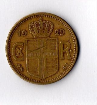 Circulated 2 Krona,  1929 photo