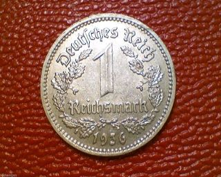 Old World Coin 1936 A Third Reich Germany 1 Reichsmark Mark Dd23 photo