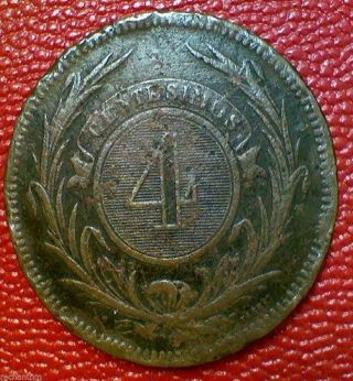 World Coin Vintage Uruguay 4 Reales 1869 Large Bronze Dd14 photo