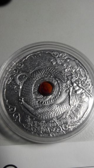 Togo 2012 1500 Francs Year Of The Dragon 2oz.  Including Real Amber Silver Coin photo