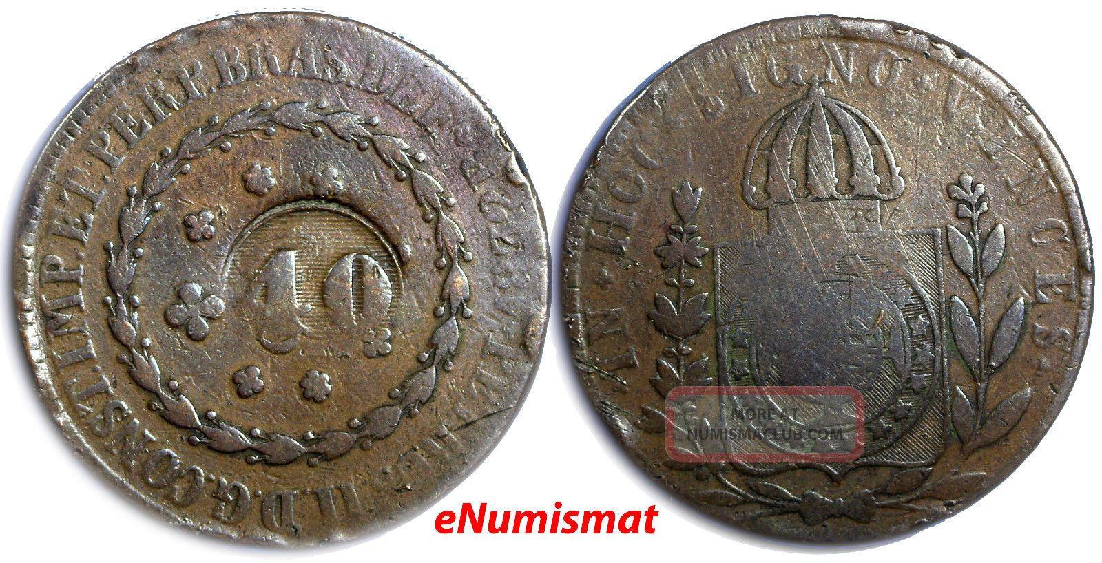 Brazil 1832 R 40 Reis Countermark On 80 Reis Of Pedro I,  Km 379.  1 Scarce Km 446 South America photo