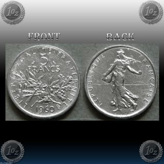France - 5 Francs 1960 Silver Coin (km 926) Xf photo