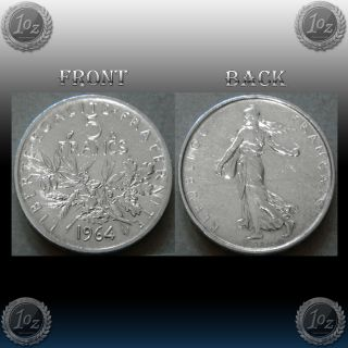 France - 5 Francs 1964 Silver Coin (km 926) Xf photo