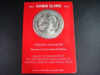 Cayman Islands 1972 $25 Silvercoin Uncirculated 25th Wedding Anniv Of Queen Bu photo