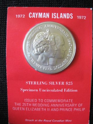 1972 Cayman Islands 25 Dollar 25th Wedding Anniversary Coin photo