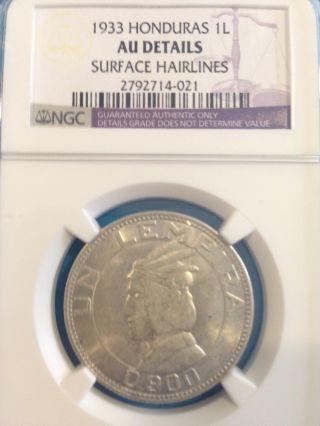 Honduras Coin 1 Lempira 1933 Ngc Au - Unc Silver photo