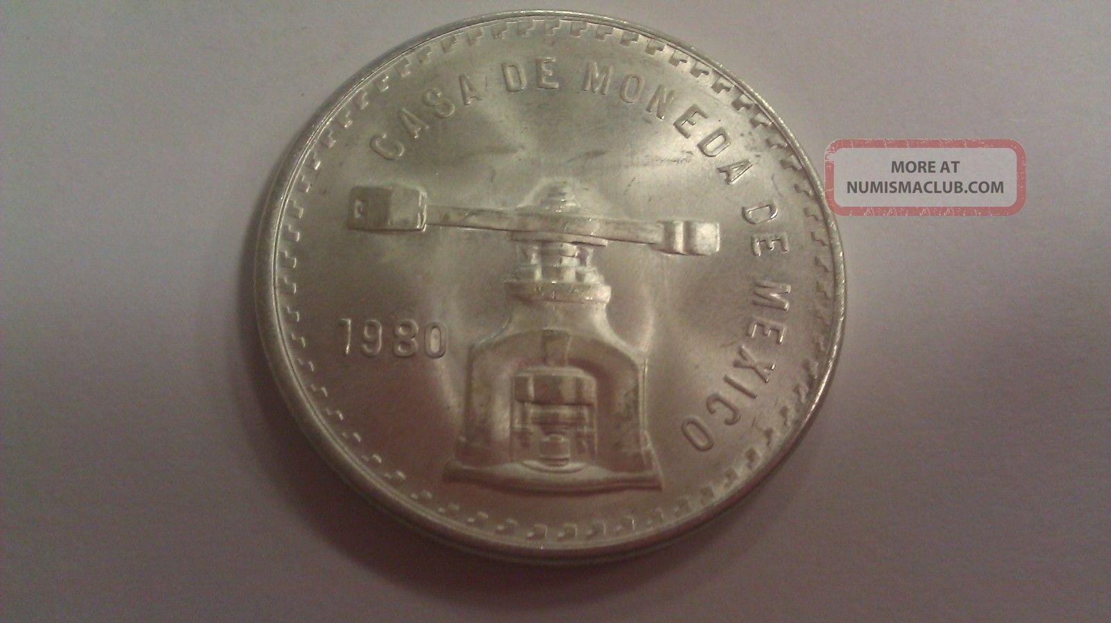 1980 Casa De Moneda De Mexico Una Onza Troy De Plata Pura