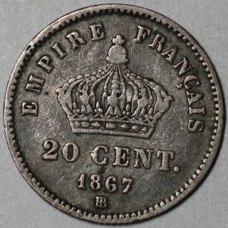1867 - Bb France Silver 20 Centimes Napoleon Iii Coin (16mm Type) photo