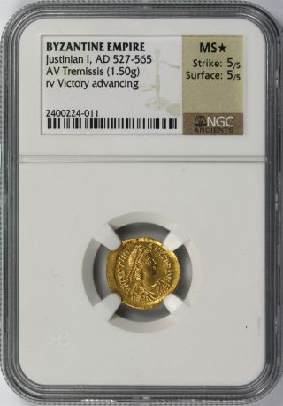 Ancient Byzantine Gold Justinian I Ad 527 - 565 Av Tremissis Ngc Ms photo