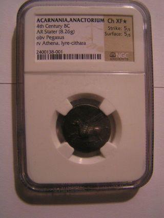 4th Century Bc Greek Corinth Silver Stater.  Pegasus Ngc Xf 5/5 Strike 5/5 Surface photo