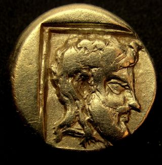 Lesbos.  Mytilene.  - Dionysus And Youth -.  Very Rare Ancient Greek Gold Coin.  Electrum photo