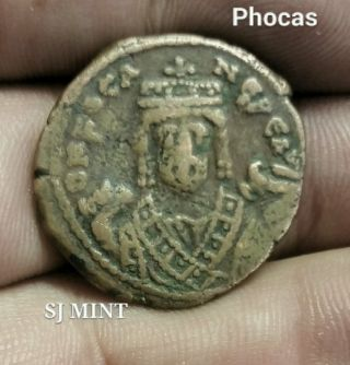 Phocas 602 - 610 Ad Ae Follis Constantinople,  Reverse Large M photo