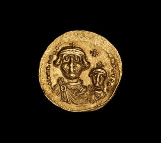 Byzantine Gold Emperor Heraclius & Constantine Iii Christian Solidus Coin 610 Ad photo