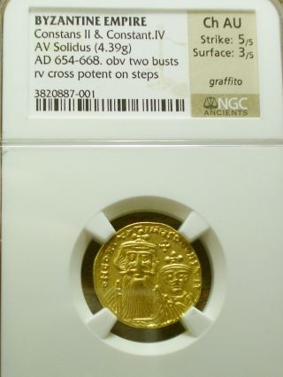 654 - 668 Ad Gold Solidus Constans Ii & Constant Iv Choice Au Ngc - 5/5 Strike photo
