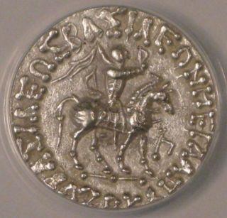 C.  58 - 19 Bc Indo - Scythian (azes Ii) - Silver Tetradrachm - Anacs Xf45 photo