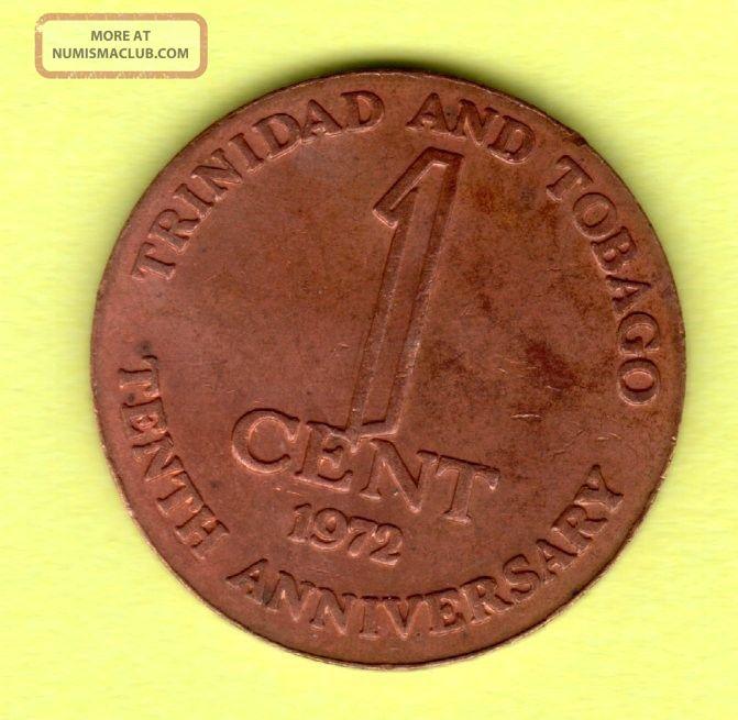 Trinidad And Tobago,  1972 1 Cent Coin South America photo