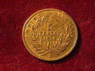 1854 5 Franc Napoleon Iii Gold Coin photo