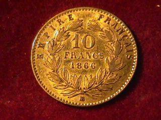 1866 10 Franc Napoleon Iii Gold Coin photo