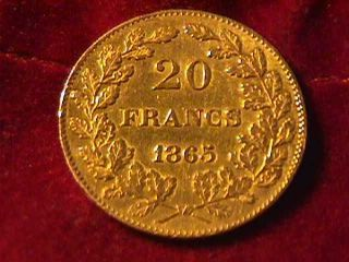 1865 20 Franc Napoleon Iii Gold Coin photo