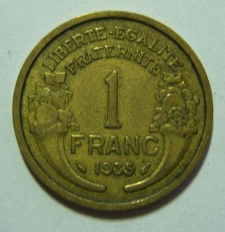 France 1935 1 Franc Inv 260 Key Date Scarce photo