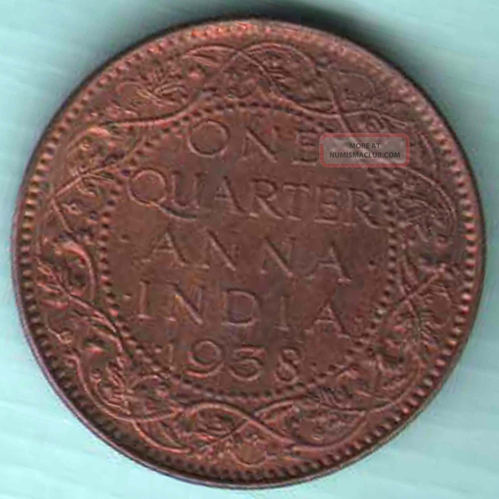 British India 1938 One Quarter Anna Kg Vi Rare