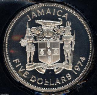 1974 Jamaica Silver $5 Gem Deep Cameo Proof Coin Crown Cr03 photo